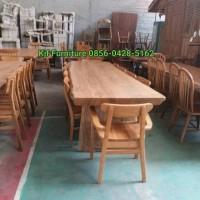 set meja makan kursi 10 asli kayu jati alami buka meja trembesi