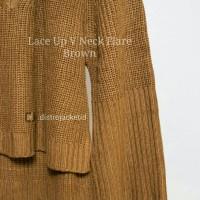 Jual [TERLARIS] Sweater Lace Up VNeck Flare Brown - Sweater Musim Dingin Murah