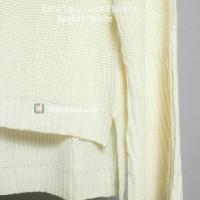 Jual [TERLARIS] Sweater Lace Up V Neck Flare Broken White - Sweater Rajut Murah