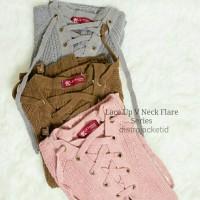 Jual [TERLARIS] Sweater Lace Up VNeck Flare Series - Sweater Rajut -Sweater Murah