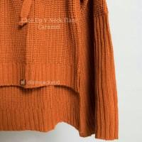 Jual [TERLARIS] Sweater Lace Up VNeck Flare Caramel- Sweater Musim Dingin Murah