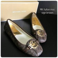Sepatu Michael Kors Original - Mk fulton moc signature brown