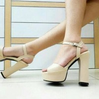 Cream Zara Ankle Strap Chunky High Heels Import