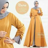 Jual Dress Naira Gamis Baju Panjang Casual Wanita Hijab Modern Baju Pesta   Murah