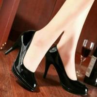 Pantofel Heels Mocca dan Black Glossy Pesta/Kerja Exclusive