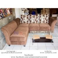 Jual Sofa kursi tamu L minimalis (81) sofa sudut mewah + MEJA TAMU Murah