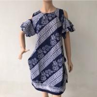 Baju dress lengan pendek lubang batik cap katun wanita terbaru murah