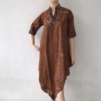 Baju dress tunik model V lengan 3/4 batik cap katun wanita murah