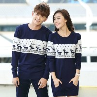 Baju Pakaian Sepasang Kembar Murah [cp rusa navy SL] baju couple