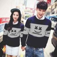 Baju Pakaian Sepasang Kembar Murah [Cp Marshmallow Navy FT] sweater