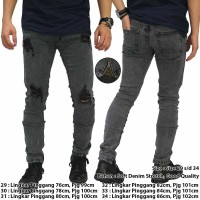 Jual Jeans Thigh And Knee Rips Ankle Zip Grey / Kemeja Kaos Jaket Batik Murah