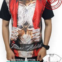 Jual Kaos Cowok Full Print Size L Distro 3D Tshirt Pria Tattoo Rompi Style Murah