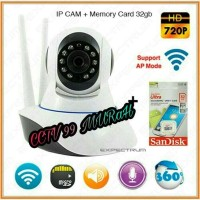 PAKET CAMERA IP CCTV WIFI HD 702P + MEMORY MICRO SD SANDiSK 32 GB