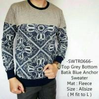 Jual Sweater Casual Fashion Model Top Grey Bottom Batik Blue Anchor - 666 Murah
