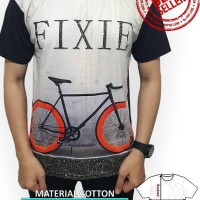 Jual Kaos Cowok Full Print Size L Distro 3D Tshirt Pria Sepeda Fixie Style Murah