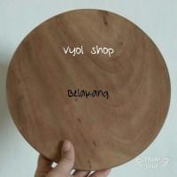 Jual Talenan kayu trembesi 23cm/talenan bulat/pizza tray/alas foto/servin  Murah