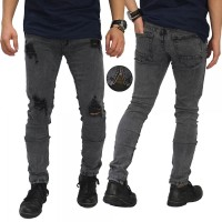 Jual Celana Jeans Thigh And Knee Rips Ankle Zip Grey/ Celana Sobek Premium Murah