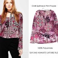 Jual Comma splitneck print blouse Murah