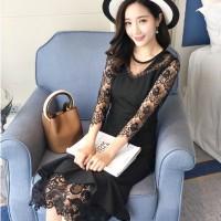 Jual Dress Wanita Import Baju Pesta Brokat Cotton Hitam Elegant 705 Murah