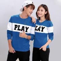 Baju Couple Lengan Panjang / Kaos pasangan PLAY Biru Muda 10866