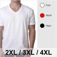 Jual Gudang Kaos Big Size - Kaos Oblong V-Neck Polos Jumbo Big Size 3XL 4XL Murah