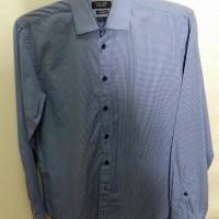 JUAL Kemeja Zara Man Biru Kotak Kotak tailored fit size M