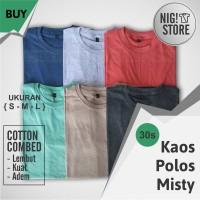 Jual KAOS POLOS MISTY PENDEK - WARNA  Cotton Combed 30s - Katun - S - M - L Murah