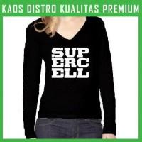 Kaos Clash Of Clans Supercell Logo 2 Wanita Cewek Lengan Panjang WLP-C