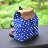 tas ransel wanita kanvas mini biru polkadot