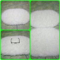 Jual alas foto bulu putih korea bentuk oval Murah