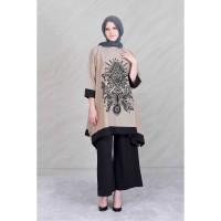Jual Pakaian Wanita Baru Lebar Panjang Tunik Print Beludru Lengan 3/4 Murah Murah