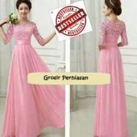 Jual DRESS MAXI / GAUN PESTA / 3 UKURAN / BIG SIZE / JUMBO / BROKAT PINK Murah
