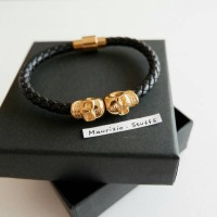 North Skull Double Heads Black-Gold Gelang Bracelet Replica Mirror