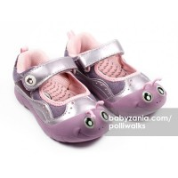 Polliwalks Shoes with Velcro Strap Inchee Purple T2909