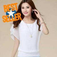 Blus Sifon Korea Wing Blouse Baju Atasan Wanita cewek Cantik Simple