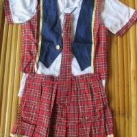 TERMURAH Kostum AKB48 Iiwake Maybe Dasi Rompi Rok Skirt Vest Tartan