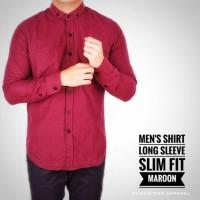 Jual Kemeja Pria Lengan Panjang Polos Slim Fit Maroon Murah