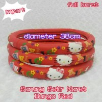Jual Cover Steer / Sarung Stir Mobil HELLO KITTY Bunga Merah Full Maret Murah