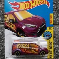 hotwheels ford transit connect ungu diecast express pizza