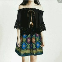Jual setelan Wanita blouse sabrina + rok batik etnik black brokat 2in1 Murah
