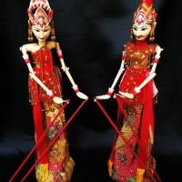 Jual Paket Wayang Golek Mini Murah Rama dan Sinta /Souvernir Wayang Bandung Murah