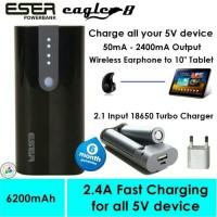Jual Powerbank Eser Eagle8 6200mAh + charger battery 18650-62bs Murah