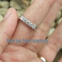 cincin wanita berlian eropa ikat emas putih motif litring