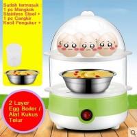 Jual 2 Layer 14 Egg Boiler Mini Steamer Alat Kukus Penghangat Listrik Murah