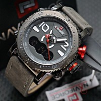 Jual Jam Tangan Pria Naviforce Dual Time 102 Original Leather Grey Murah