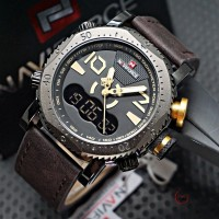 Jual Jam Tangan Pria Naviforce Dual Time 102 Original Leather Black Cream Murah