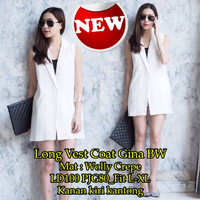 Jual [Long Vest Coat Gina SW] coat wanita wolly crepe putih Murah