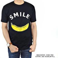 Promo Murah Kaos Pendek Hitam Motif Tulisan SMILE Gambar Pisang