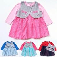 Jual Dress Pesta Brokat Anak Bayi Perempuan Kaos Lengan Panjang Rompi Lep Murah