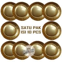 piring kue warna gold / piring kue kertas / paper plate gold / piring